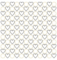 Black hearts and golden circles vector image vector image