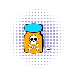 Bottle with poison icon comics style vector