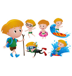 boy doing different activities vector image