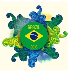 Brazil Summer 2016 With Colorfull Waves vector image