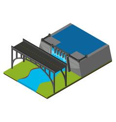 Bridge by the dam vector