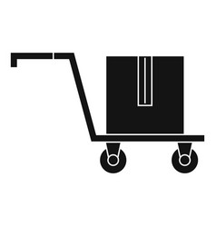 Delivery cart with box icon simple style vector