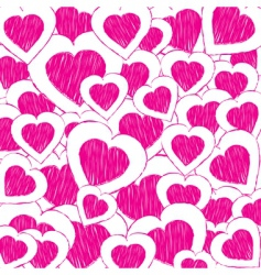 doodle hearts vector image vector image
