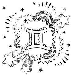 doodle pop astrology gemini vector image vector image