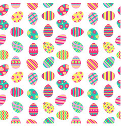 Easter seamless pattern with painted eggs vector