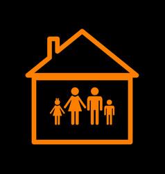 Family sign orange icon on black vector