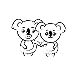 Figure cute couple koala wild animal with vector