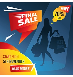 Final sale poster with girl silhouette vector image