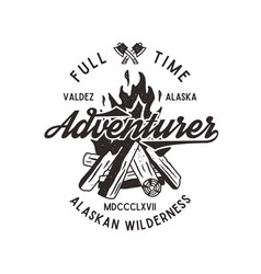 Full time adventurer vintage label with textured vector