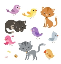 Funny cartoon cats and birds set vector