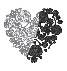 Gray scale drawing silhouette vintage heart with vector