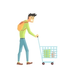 Guy Doing Grocery Shopping vector image vector image