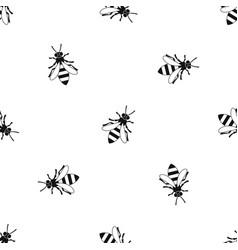 Honey bee pattern seamless black vector