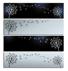 Horizontal black and grey banner with dandelion vector