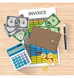 invoice invoicing payment money calculator vector image