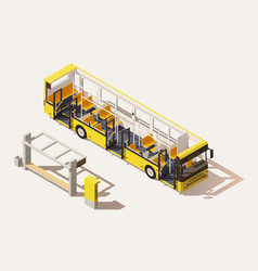 isometric low poly bus cross-section vector image vector image