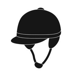 Jockey s helmet icon in black style isolated on vector