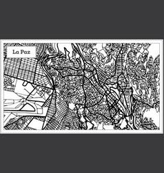 La paz bolivia city map in black and white color vector