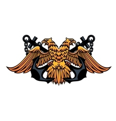 Maritime emblem with double headed eagle vector image vector image