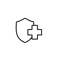 medical insurance shiled icon on white background vector image vector image