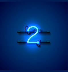 neon city font sign number 2 signboard two vector image