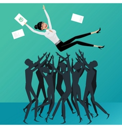 People toss up business woman vector