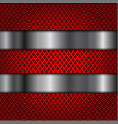 Red perforated background with shiny stainless vector