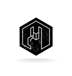 Rock hand linear style hex geometric logo with vector