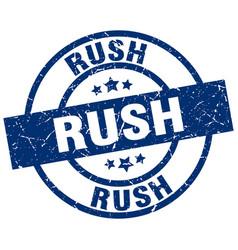 Rush blue round grunge stamp vector