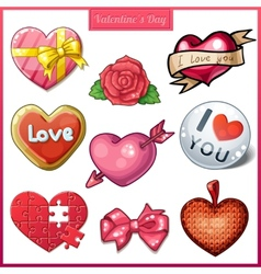 Set of candy hearts icons for valentines day vector