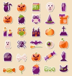 Set of Halloween Flat Icons Scrapbook Elements vector image
