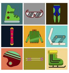 Set of icons in flat design ski equipment vector