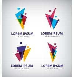 Set of men human logos icons vector image