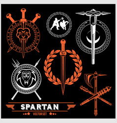 spartan team logo and emblems - set vector image