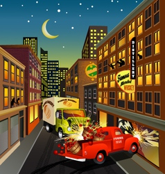 street scene with trucks crashing vector image vector image