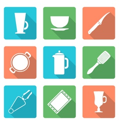Various flat style white dinnerware icons set vector
