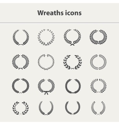 Wreaths icons set vector