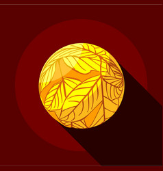 Yellow planet icon flat style vector