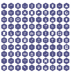 100 archeology icons hexagon purple vector