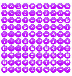 100 marine environment icons set purple vector