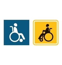 Disabled sign icon man in wheelchair handicapped vector