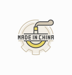 Colorful factory pipe and gear icon vector