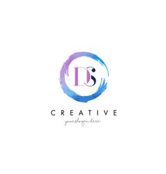 Ds letter logo circular purple splash brush vector