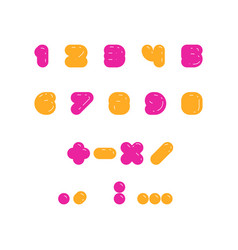 kids multicolored set of rounded bolld numbers vector image