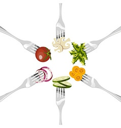 Forks with vegetables circle vector