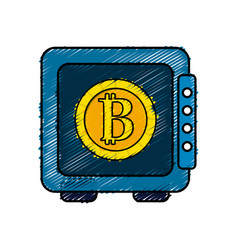 Strongbox open with bitcoin currency inside vector