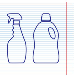Household chemical bottles sign navy line vector