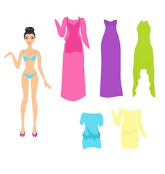 Dress up doll with an assortment of summer dresses vector