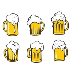 Lager beer tankards set vector