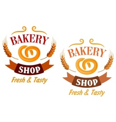 Bakery shop and pretzel sign vector